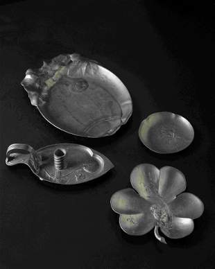 Three Jugendstil Serving Dishes and One Chamberstick