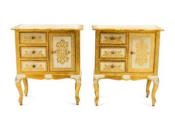 A Pair of Italian Painted and Parcel Gilt Cabinets