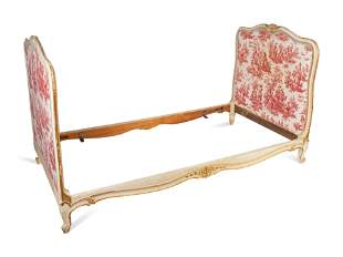 A Louis XV Style Painted and Parcel Gilt Daybed