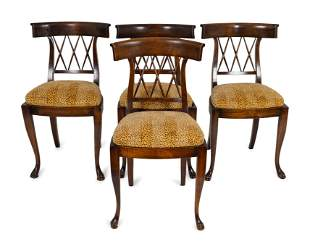 Four Italian Directoire Style Walnut Side Chairs