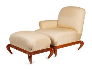A Studio Craft Upholstered Chair and Ottoman