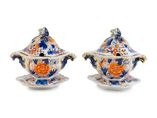 A Pair of Masons Ironstone Sauce Tureens with