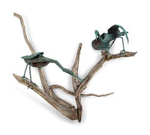 A Copper and Driftwood Wall Sculpture with Two Herons