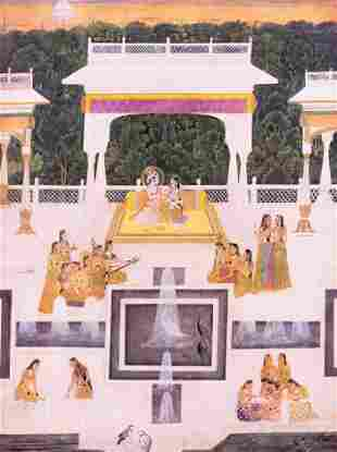 A Color Print of a Mughal Miniature Painting