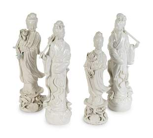 Four Chinese Blanc-de-Chine Porcelain Figures