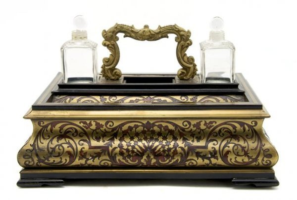 A French Boulle Style Marquetry Standish, Height 8 1/2