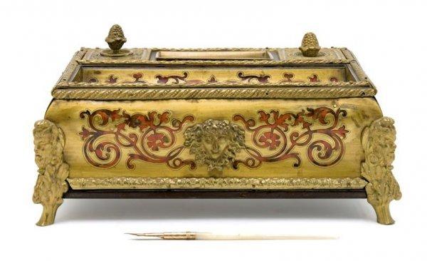 A Louis XVI Style Boulle Style Encrier, Width 9 3/4 inc