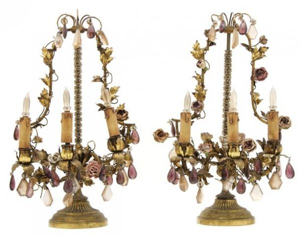 A Pair of Continental Three-Light Porcelain Mounted Can