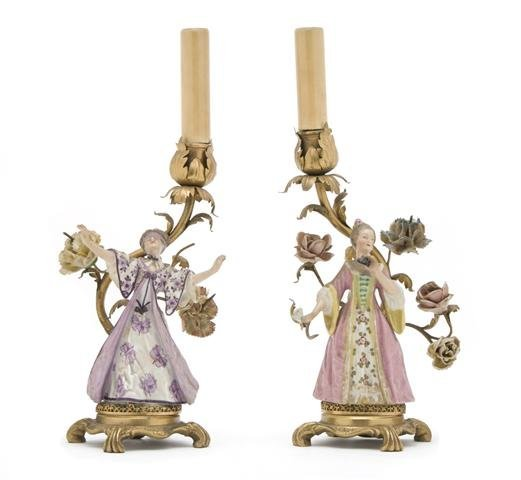 A Pair of French Porcelain and Gilt Metal Candelabra, H