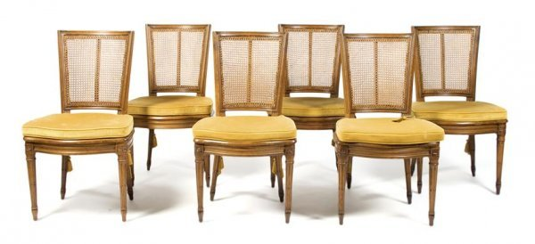 A Set of Six Louis XVI Style Side Chairs, Height 35 inc