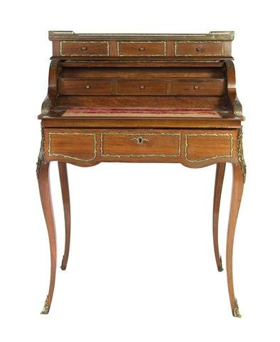 A Louis XVI Style Gilt Metal Mounted Bureau a Cylindre,