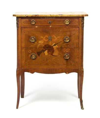 A Louis XVI Style Marquetry and Gilt Metal Mounted Side