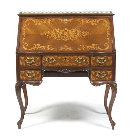 A Louis XVI Style Parquetry and Gilt Metal Mounted Fall