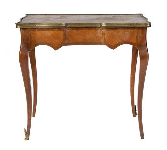 A Louis XVI Style Parquetry and Gilt Metal Mounted Occa