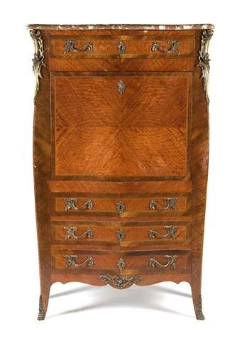 A Louis XV Style Parquetry and Gilt Metal Mounted Secre
