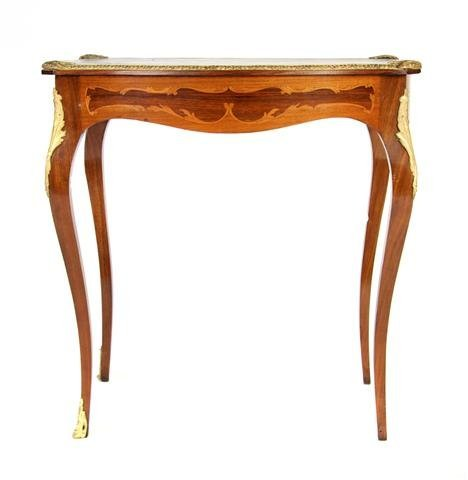 A Louis XVI Style Marquetry and Gilt Metal Mounted Occa