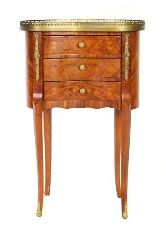 A Louis XVI Style Marquetry Side Table, Height 29 3/8 x