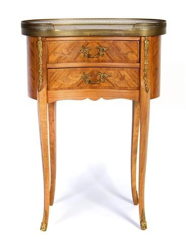 A Louis XVI Style Marquetry Reniform Side Table, Height
