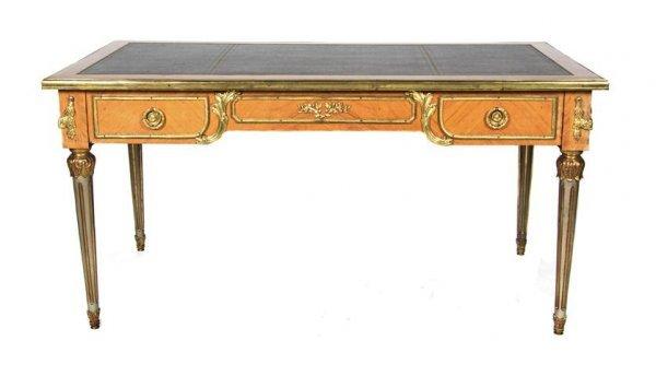A Louis XVI Style Gilt Metal Mounted Bureau Plat, Heigh