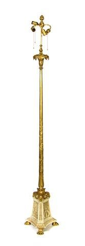 A Neoclassical Gilt Metal and Marble Torchere, Height o
