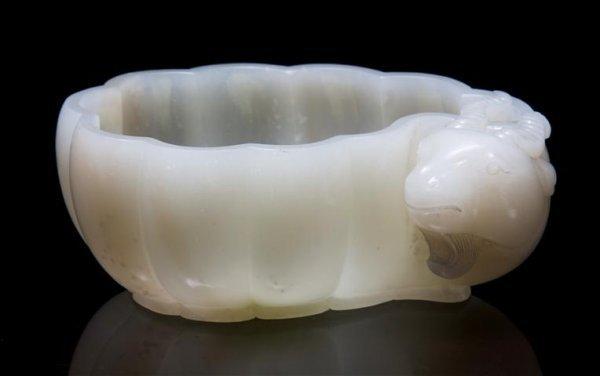 A Mogul Style White Jade Ram's Head Bowl, Length 6 1/4