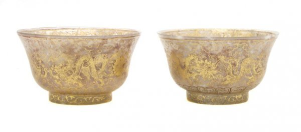 A Pair of Chinese Gilt Decorated Jade Bowls, Height 2 i