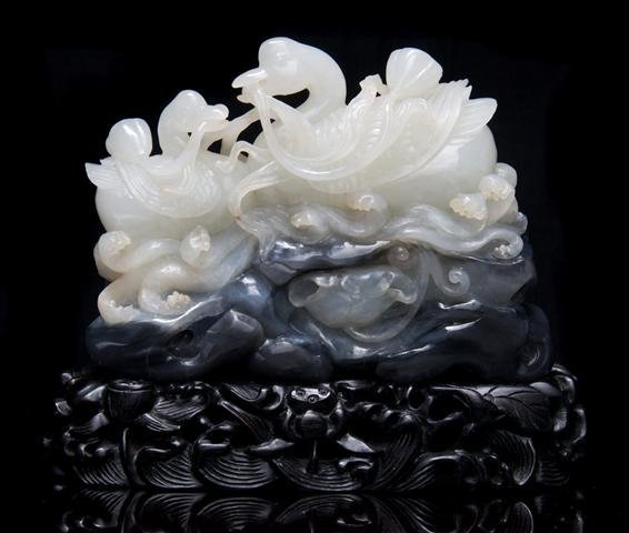 A Chinese Jade Carving of Geese, Width 7 1/4 inches.
