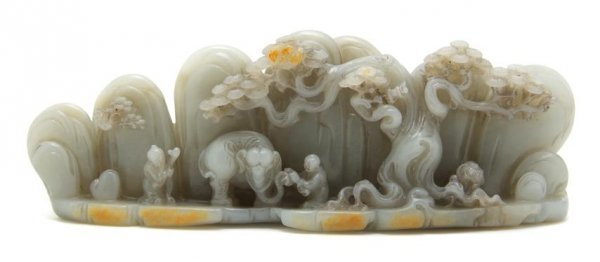 A Chinese Jade Brush Rest, Length 9 inches.