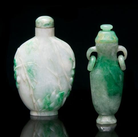 A Group of Two Chinese Jadeite Snuff Bottles, Height of