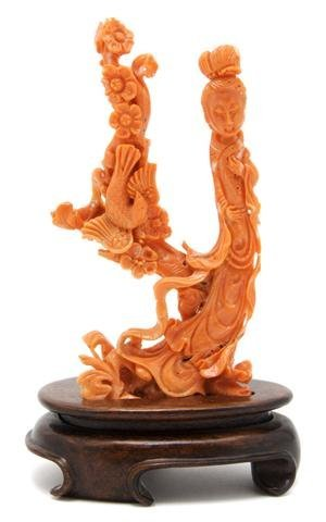 A Chinese Carved Coral Figural Group, Height overall 6