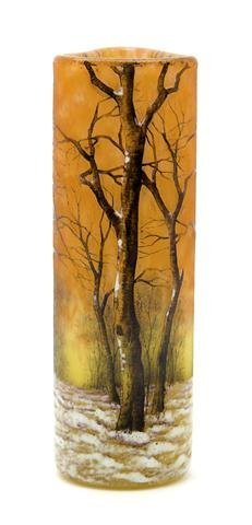 A Daum Enameled Cameo Glass Vase, Height 5 7/8 inches.