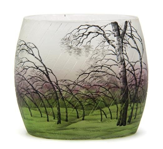 A Daum Enameled Cameo Glass Vase, Height 4 3/4 inches.