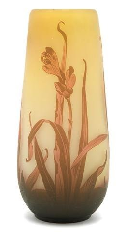 An Arsall Cameo Glass Vase, Height 14 3/8 inches.