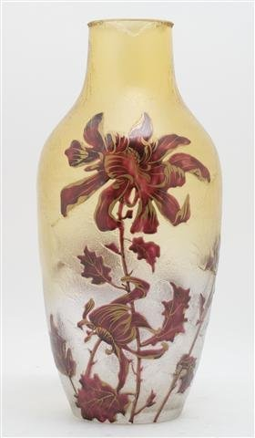 An Enameled Cameo Glass Vase, Height 13 3/4 inches.