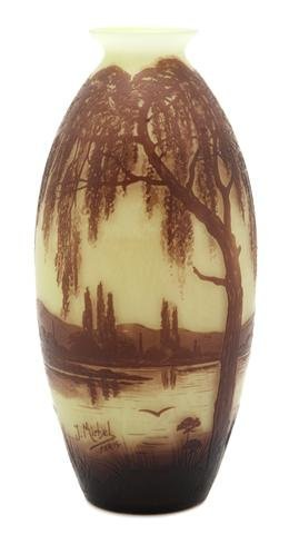 A J. Michel Cameo Glass Vase, Height 10 1/4 inches.