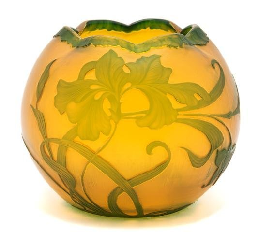 A Moser Cameo Glass Vase, Height 5 inches.
