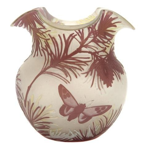 A Colliez Cameo Glass Vase, Height 6 1/2 inches.