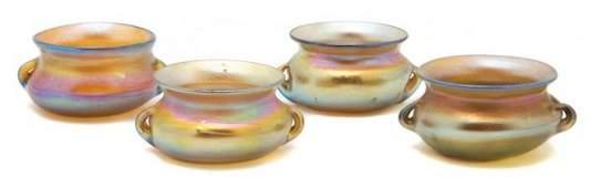 A Set of Four Tiffany Favrile Glass Salts, Diameter 2 i