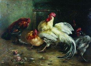14: Piet van Engelen, (Belgian, 1863-1924), Roosters an