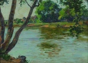 21: Alfred Regagnon, (French, 1874-1961), River Landsca