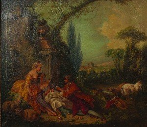 22: After Francois Boucher, (French, 1703-1770), Courti