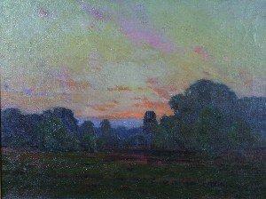 61A: American School, 19th century, Sunset Landscape