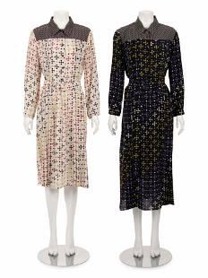 Two Bottega Veneta Silk Printed Dresses with Belts