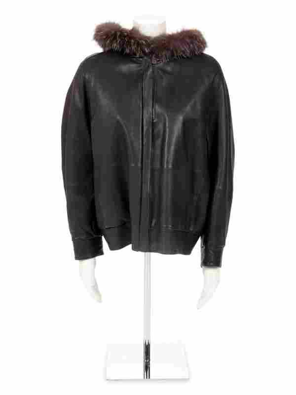 Brunello Cucinelli Fur Trimmed Leather Jacket