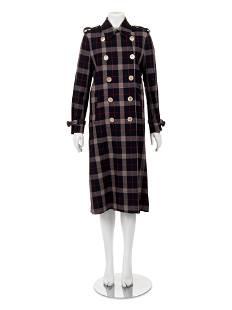 Gucci Wool Plaid Trench Coat
