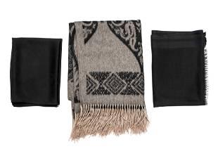 Three Designer Wrap Pieces: One Etro, One Hermes, and