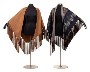 Two Cashmere Shawls with Leather Fringe: One Hermes,