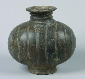 419: A Chinese Grey Pottery Cocoon Jar, Height 11 inche