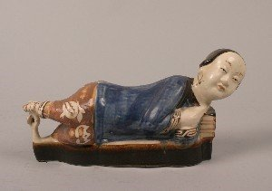 423: A Chinese Glazed Ceramic Pillow, Length 15 1/2 inc