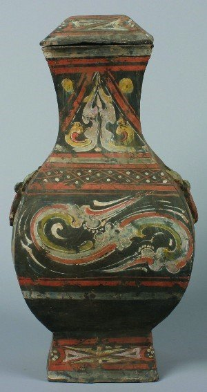 434: A Large Square Chinese Han Style Pottery Covered S